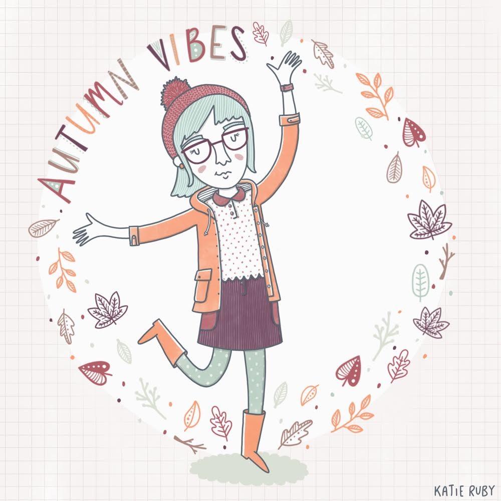 autumn vibes girl illustration
