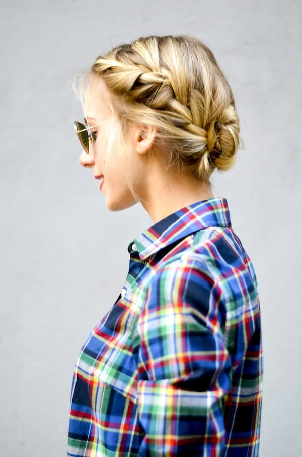 Holiday Hair Tutorial Double French Braided Bun Katie