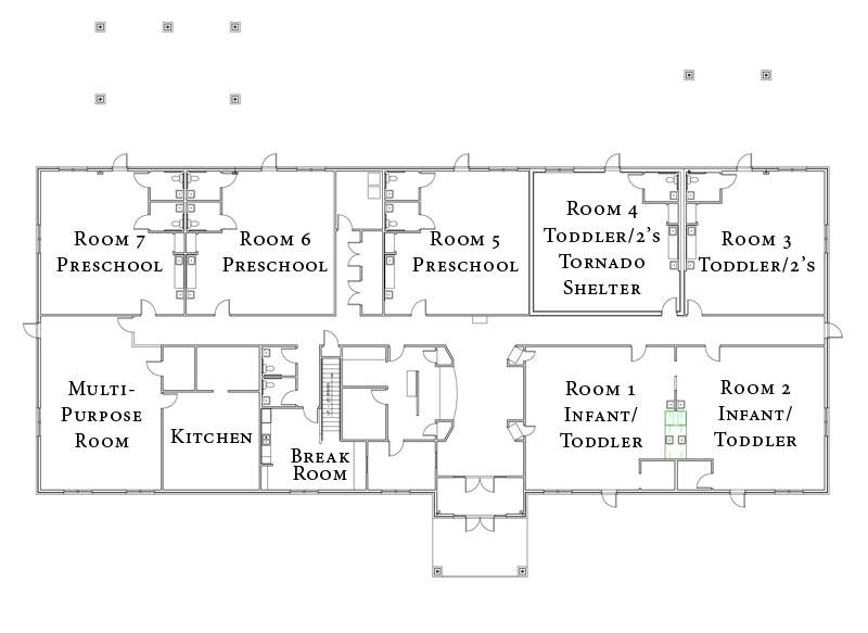 Facility construction floorplans at katie 39 s kids for Preschool floor plans