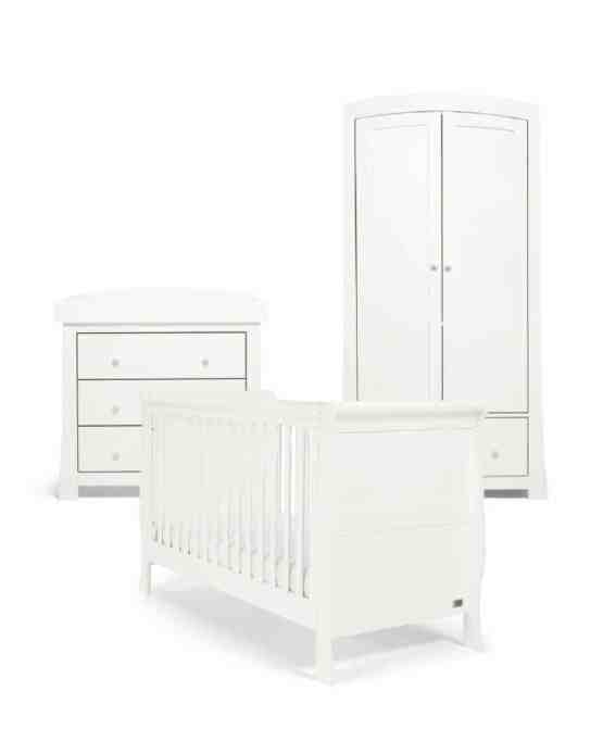Mamas & Papas Mia Sleigh 3 Piece Set – Includes Cotbed, Dresser Changer & Wardrobe – White