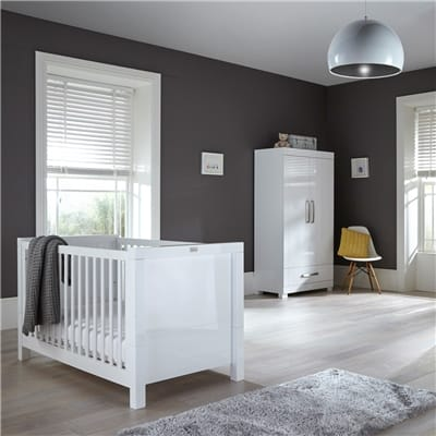 Silver Cross Nottinghill Nursery 3 Piece Set – Includes Cotbed, Dresser Changer & Wardrobe – White