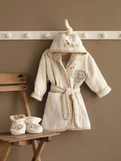 Natures Purest Sleepy Safari Bathrobe and Slippers 0-6 Months