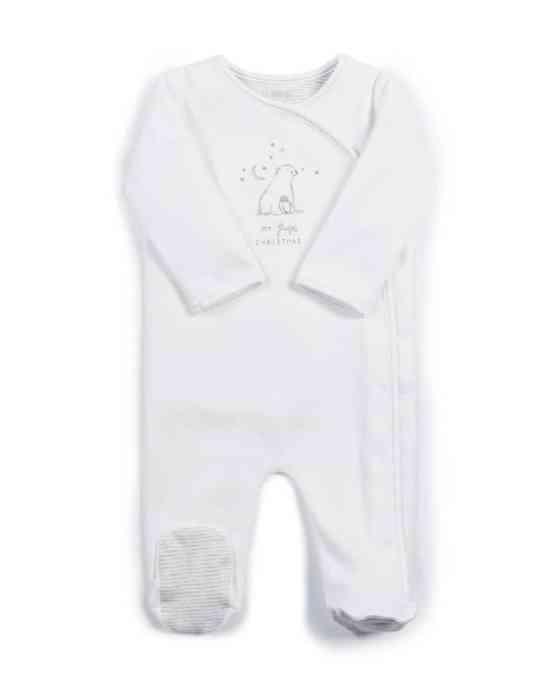 Mamas & Papas My 1st Christmas Polar Bear Sleepsuit- White