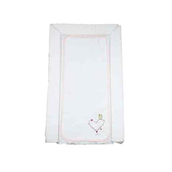 Deluxe PVC Baby Changing Mat – White Floral Heart & Owl With Liner