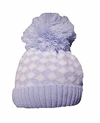 Baby Boys Knitted Diamond Pom Pom Hat- Blue & White
