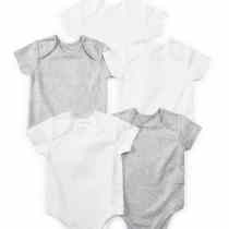 5 Pack Grey & White Bodysuit