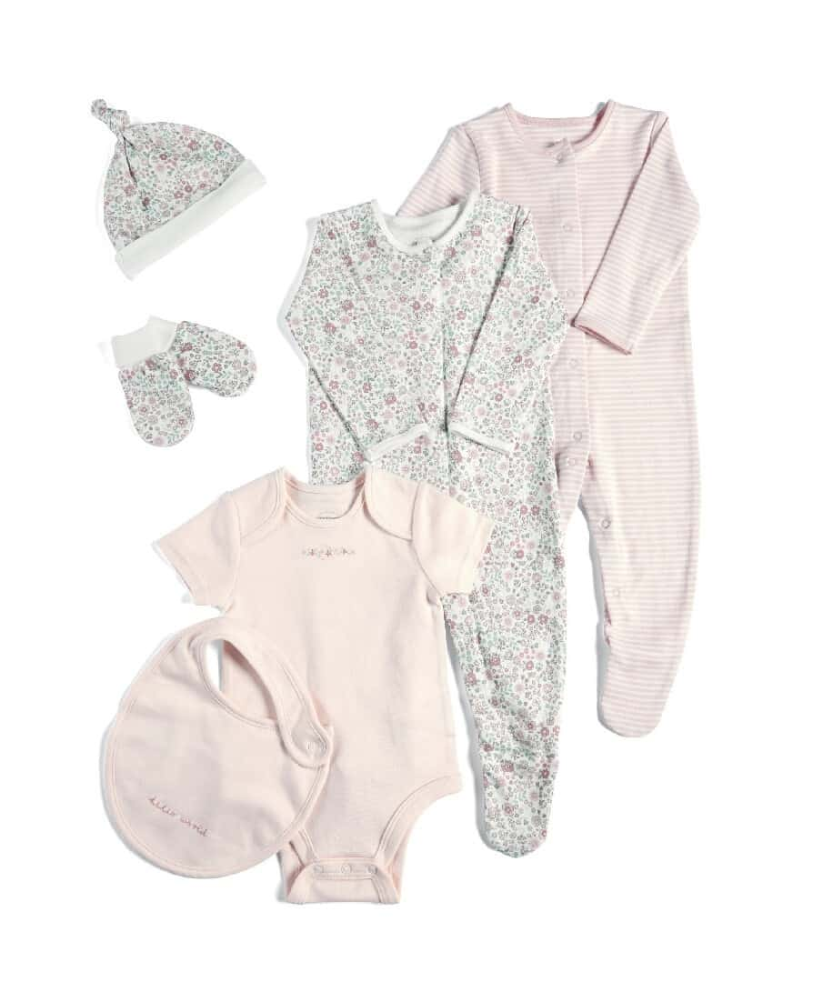 Mamas & Papas Welcome To The World 6 Piece Clothing Gift Set- Pink Floral
