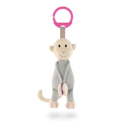 Matchstick Monkey Knitted Hanging Monkey- Pink Ring