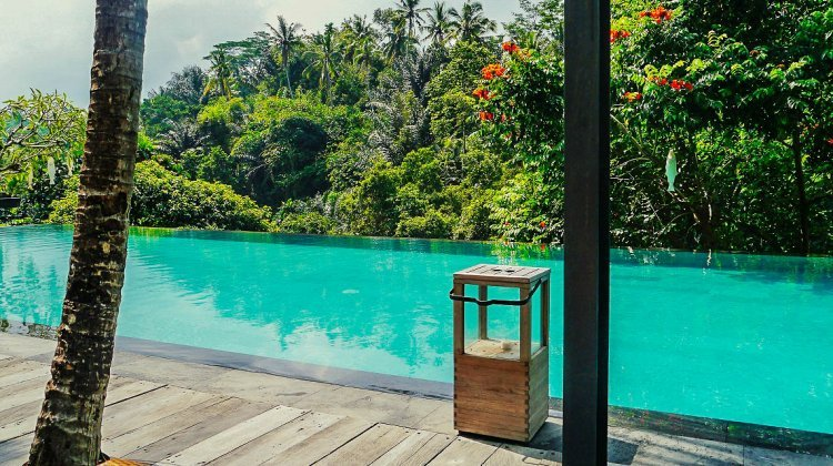 Image of infinity pool overlooking jungle in Bali
