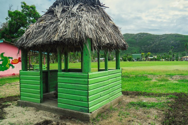 Image of wooden green building with thatched roof as part of the school on an island in Fiji