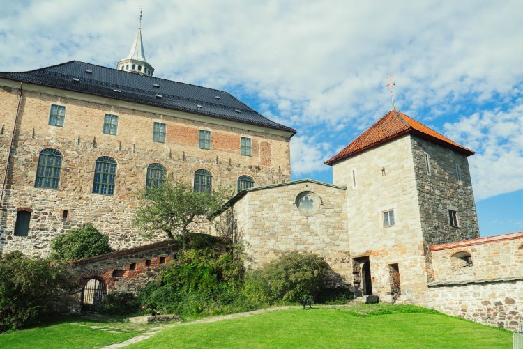 Image of the exterior of some buildings that make up Akerhus Fortress in Oslo Norway