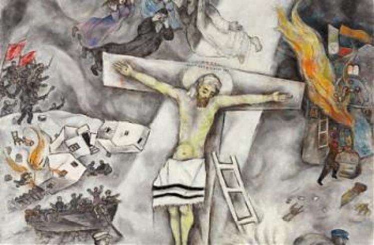 Znalezione obrazy dla zapytania ukrzyżowany chrystus chagall