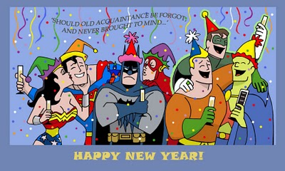 dc comics, happy new year, wonder woman, superman, batman