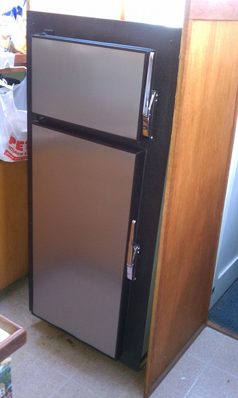partially installed fridge