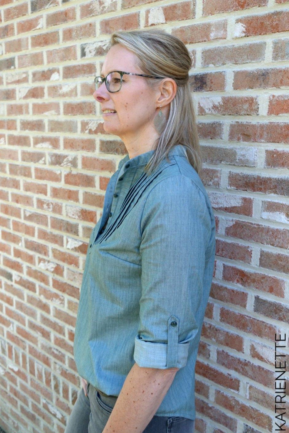 Katrienette carme blouse bloes hemd dames pauline alice Sleeve tab french seam AGF Art gallery solid smooth denim sew along platte plooi franse naad opstaande kraag naaien