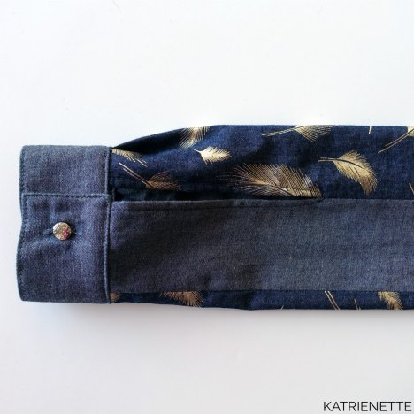 katrienette wenona shirt blouse named namedclothing clothing chambray dames tweekleurig twee kleuren two colors jeans feathers veertjes pluimen bling