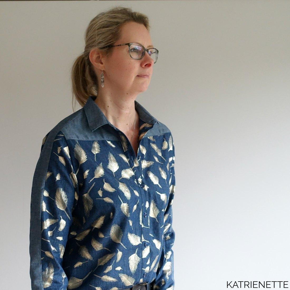 katrienette wenona shirt blouse named namedclothing clothing chambray dames tweekleurig twee kleuren two colors jeans feathers veertjes pluimen bling