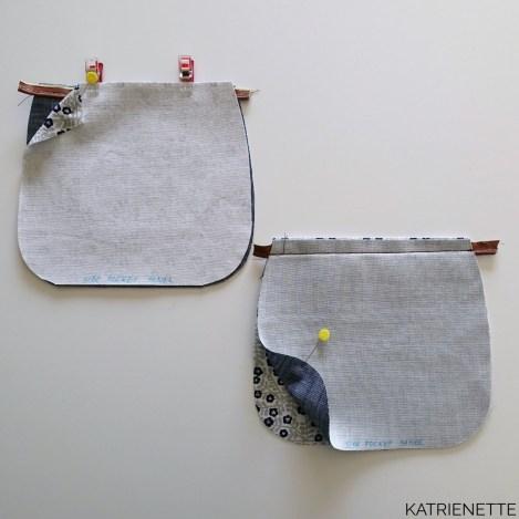 Katrienette Swoon swoonpatterns blanche barrel bag handtas tas bags sewing naaien zelf patroon kurkleer croco robert kaufman fabric manchester metallic jeans rivetten holnieten rivet holniet