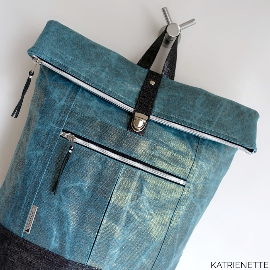 Katrienette Katrien Range Backpack Noodlehead waxed cotton AlFrances Al Frances hack top zipper pressure lock closure sewing bag waterproof naaien rugzak katoen wax