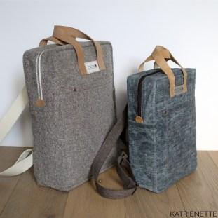 Katrien Katrienette Making Backpack Noodlehead rugzak resize small klein kleinere versie waxed cotton denim oilskin leather straps leren hengsels stof biais binding