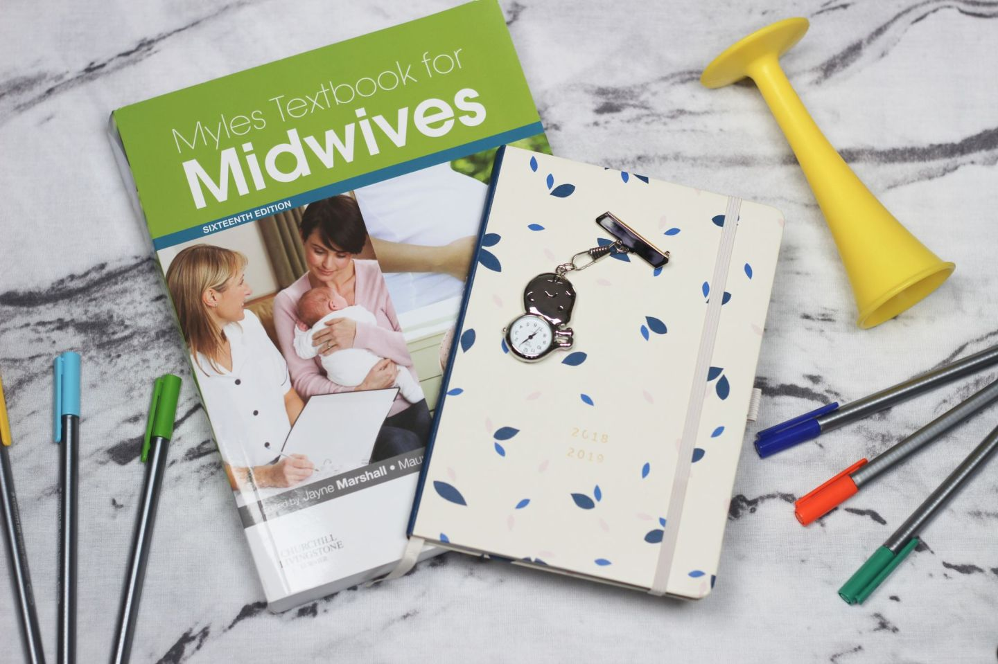 Student Midwife Textbook, Diary, Fobwatch, Pinard and Pens