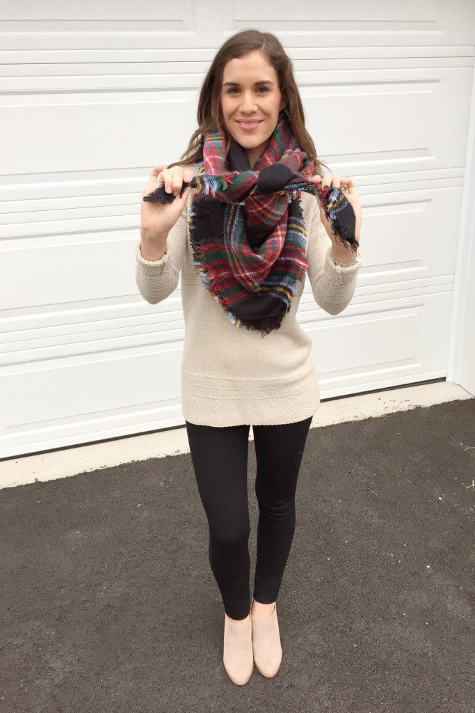 how to tie a blanket scarf - tie the ends together to crate a pretzel