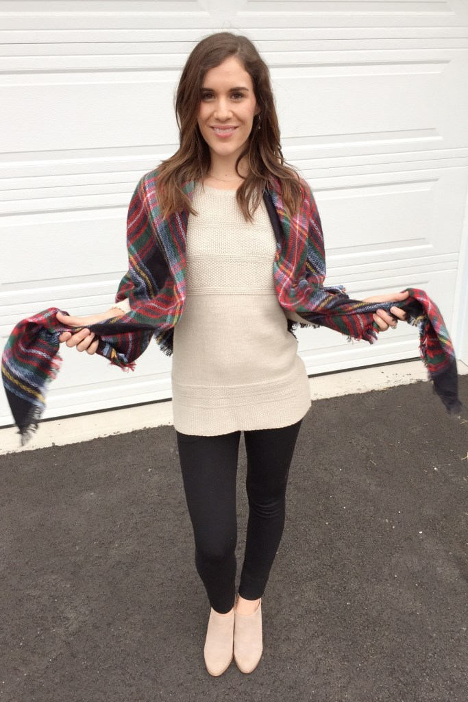 how to tie a blanket scarf - wrap around your shoulders