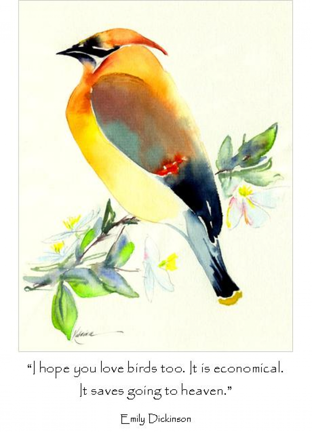 Cedar Waxwing Quote Large Card Katrinas Cards And Gifts