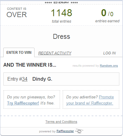dress giveaway winner