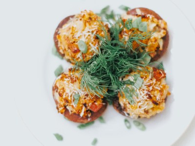 Stuffed Mushroom Caps with Cream Cheese, Caramelized Onion, Bread Crumbs and Bacon