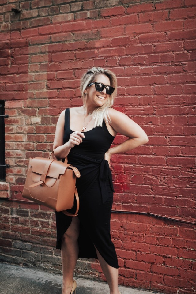 Fashion and Curvy Blogger KatWalkSF wears the Reformation Kaila Wrap Style Jersey Dress