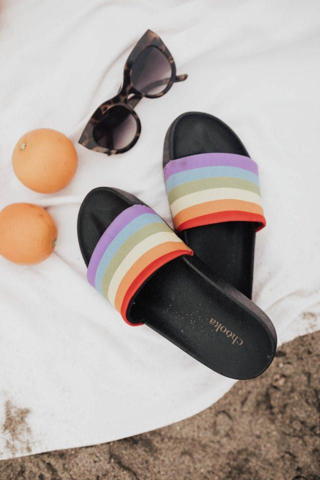 Le Spec Air Heart, CHOOKA Rainbow Pride Slide Sandal