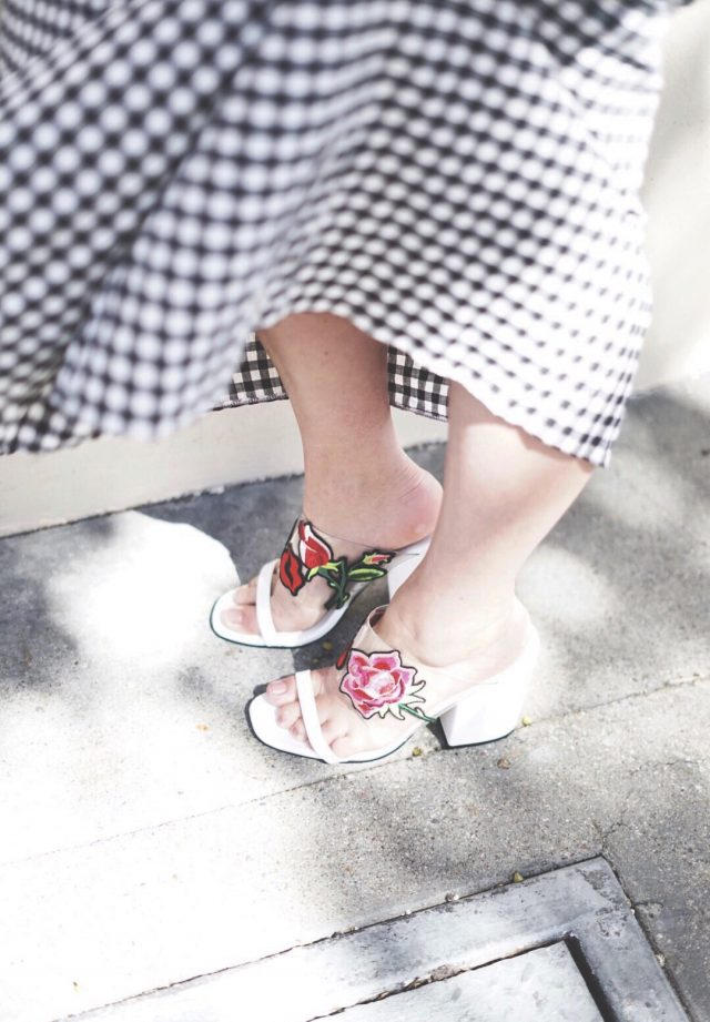 KatWalkSF, Kat Ensign, Fashion Blogger, Fashionista, SF Blogger, Blogger Style, Online Shopping, ASOS Off Shoulder Dress in Postcard and Stripe Print, ASOS Tiered Gingham Maxi Dress with Contrast Tie Back, ASOS HATTON GARDEN Embroidered Mules - White, ASOS, As Seen On Me,