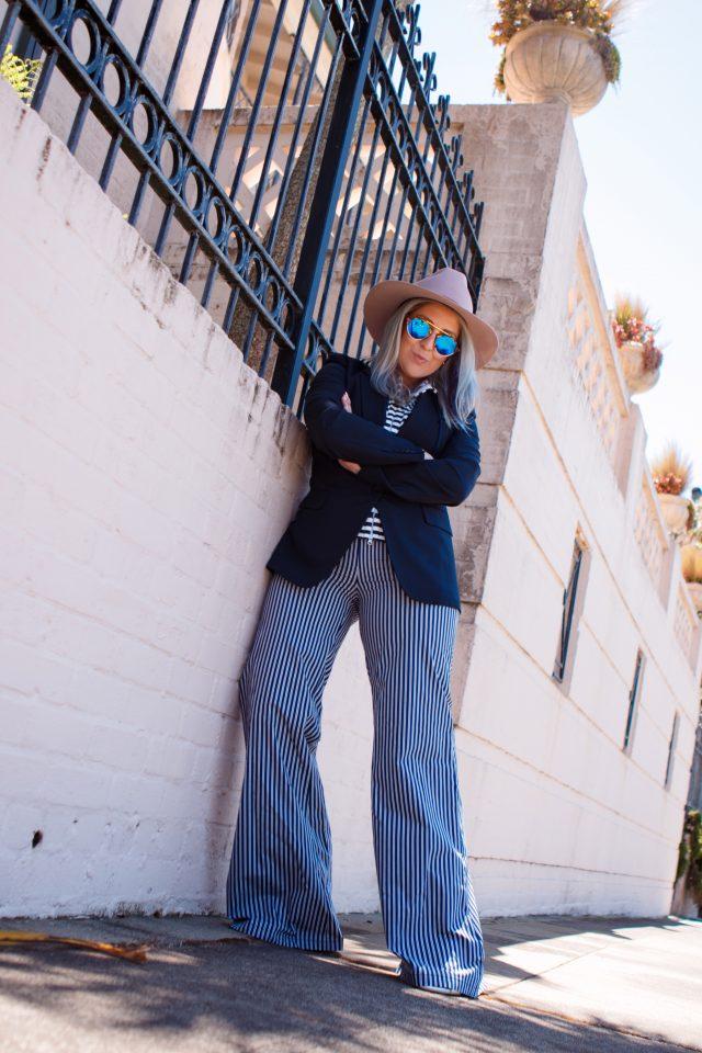 KatWalkSF, Kat Ensign, Kathleen Ensign, Azaela SF, Veronica Beard, Dickie, Sunglasses, Mirrored Sunglasses, White Shoes, Stripes, Nautical, San Francisco Blogger, SF Style, Fashionista, Fashion Diaries, Fashion 101, Spring Style, Lookbook, OOTD, Street Style, Purple Hair, Striped Pants, Blazer, White Shoes