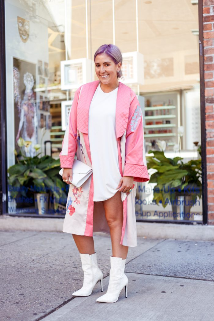 Fashion Week, ASOS, Public Desire, Mon Purse, Street Style, West Village, White Boots, White Shoe Trend, Kimono, Purple Hair, Trends, Fashionista, Fashion Diaries, San Francisco Blogger, White After Labor Day, Fall Fashion