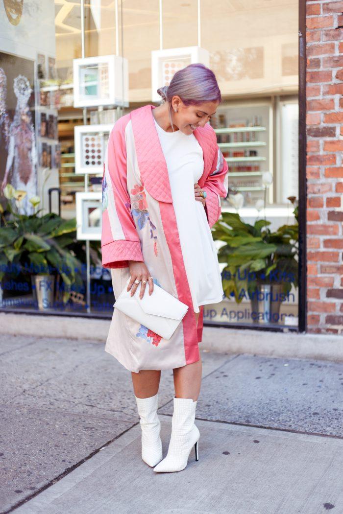 Fashion Week, ASOS, Public Desire, Mon Purse, Street Style, West Village, White Boots, White Shoe Trend, Kimono, Purple Hair, Trends, Fashionista, Fashion Diaries, San Francisco Blogger, White After Labor Day, Fall Fashion