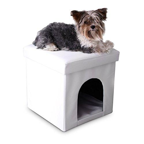 Hundebox Sitzhocker Kunstleder 38 cm faltbar Sitzwürfel Katzenhöhle Sitzwürfel