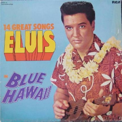 Elvis holding a ukulele