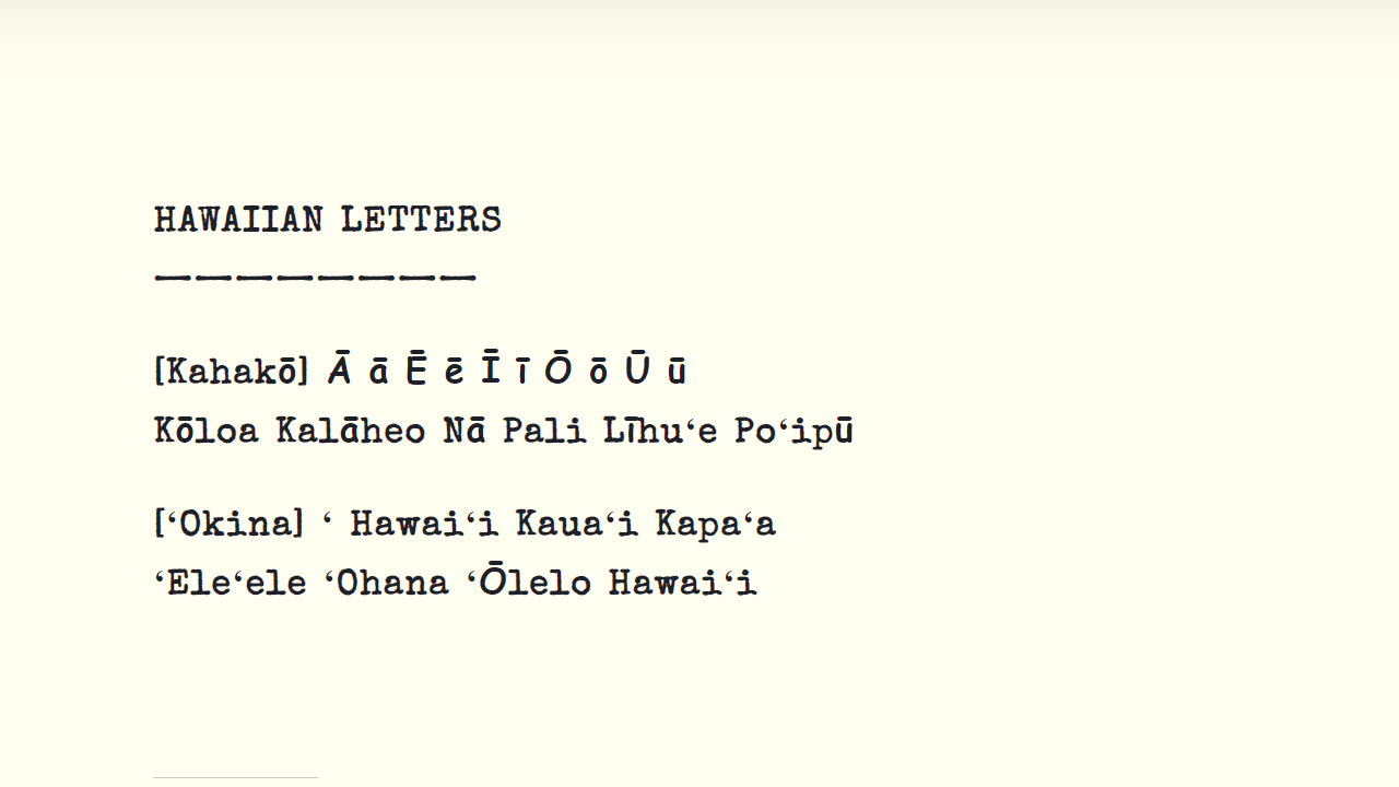 How to type Hawaiian letters for web design