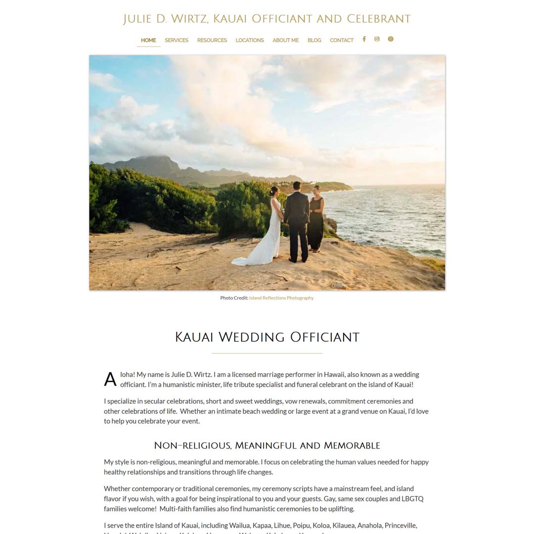 Portfolio - Kauai Wedding Officiant Website