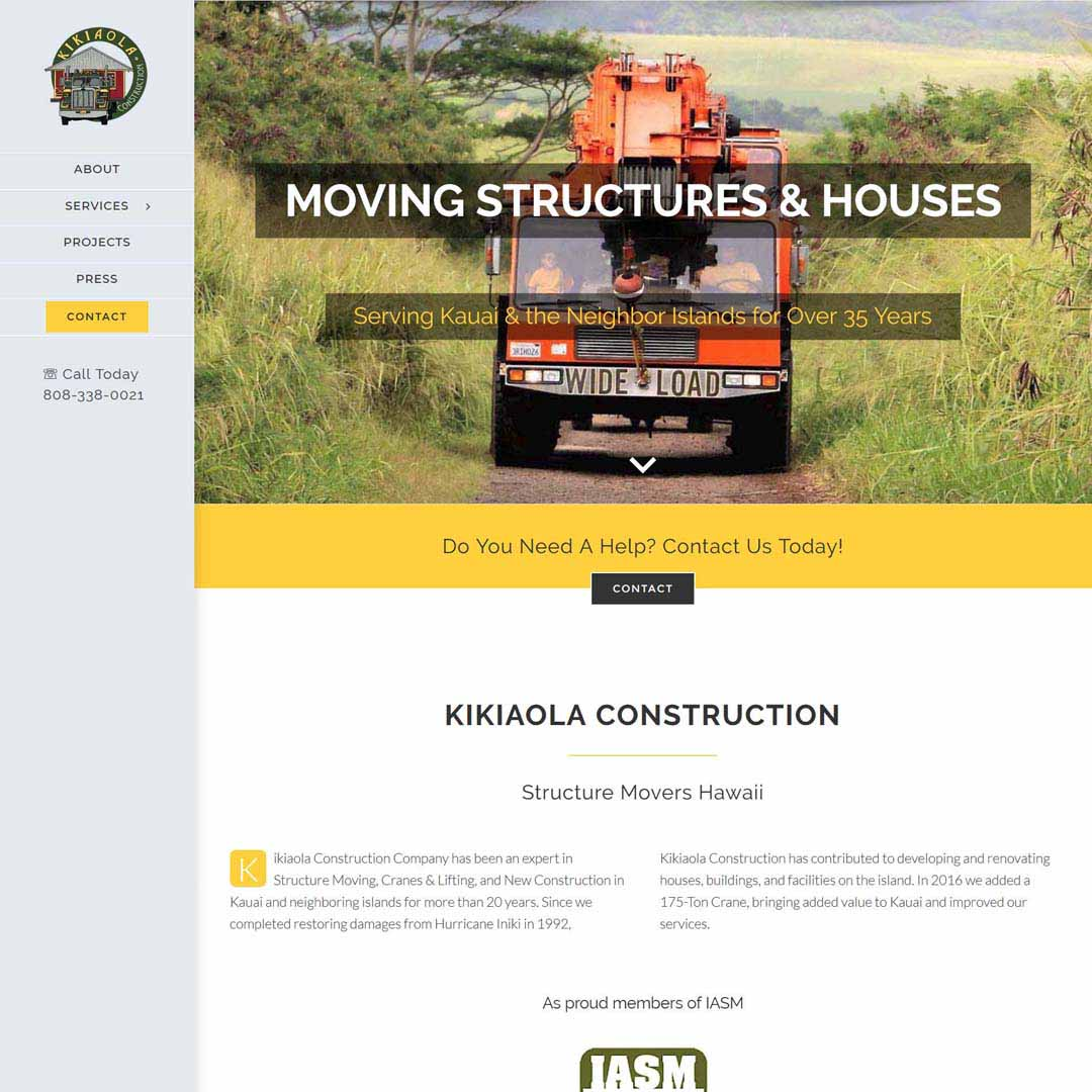 Hawaii Construction Company Website