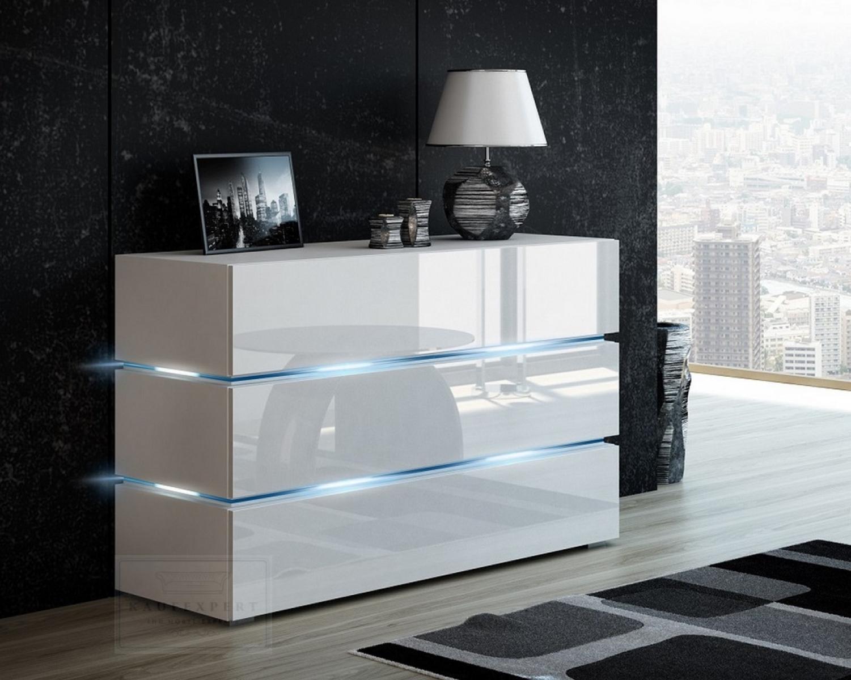 kommode shine sideboard 120 cm weiss hochglanz weiss led beleuchtung modern design tv mobel anrichte sigma