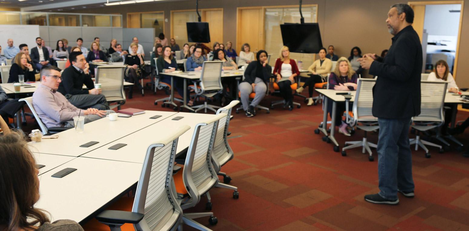 Kauffman Foundation associates listen to guest speaker Kevin Willmott