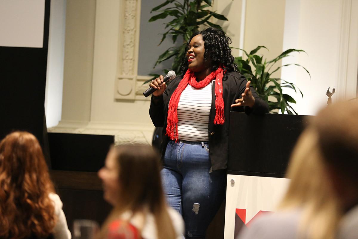 Kauffman Scholars Postsecondary Retention Specialist AshleyMarie Marie speaks at an all-associate event