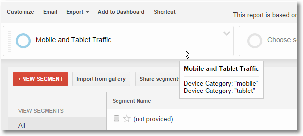 google analytics mobile segment