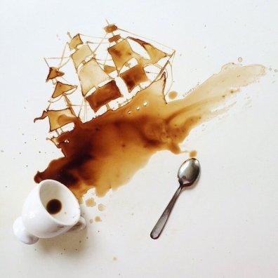 Hajó - Festmények kávéból - Giulia Bernardelli