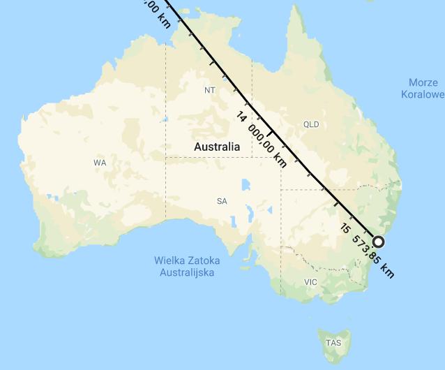mapa pokazująca odległość między Warszawą aSydney