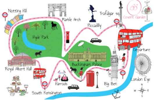Mapa do tour pelas casas de chá de Londres