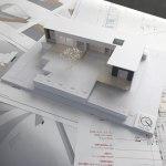 敷地高低差を生かしたデッキテラスのある平屋の住宅