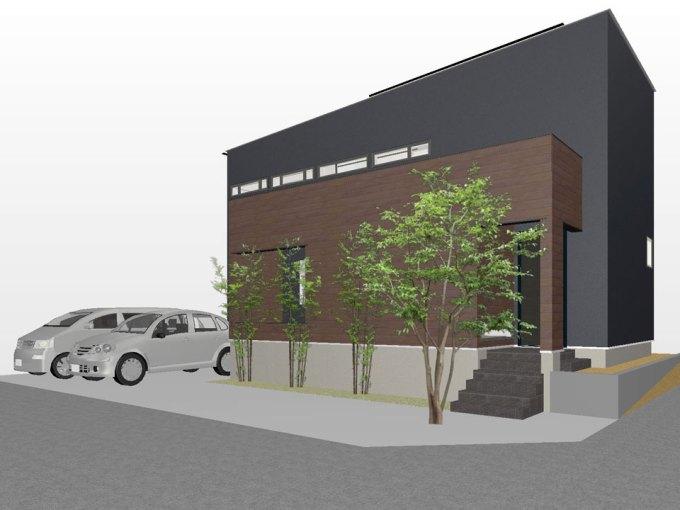 四差路の角地に建つファサードデザイン